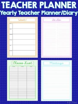 Teacher Planner/Diary - Year Long
