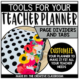 Teacher Planner Dividers, Covers and Tabs