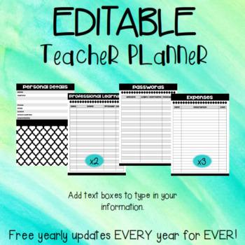 Teacher Planner EDITABLE