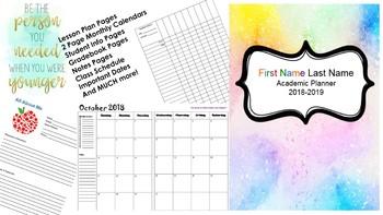 Teacher Planner 2017 - 2018 (Editable)