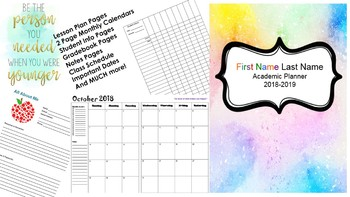 Teacher Planner 2016-2017 (Editable): Free Updates!
