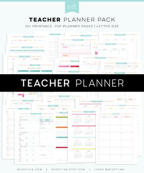 Teacher Planner - Editable PDF Digital Printables - Letter Size