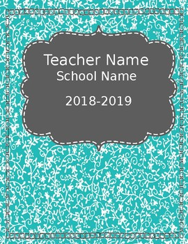 Teacher Planner {Editable} -Teal & Orange 2018-2019