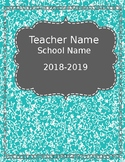 Teacher Planner {Editable} -Teal & Orange 2018-2019