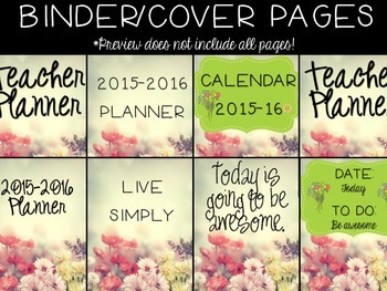 Teacher Planner- Flowers- editable pages included!