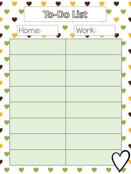 Teacher Planner - Green Hearts theme