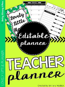 Teacher Planner: Green Melon (Editable)