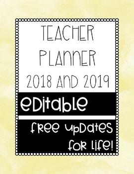 2018/2019 Teacher Planner/Bullet Journal - EDITABLE