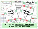 Teacher Planner [Green and Pink EDITABLE] July 2016-July 2017
