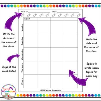Teacher Planner - Lesson Plan Sheet