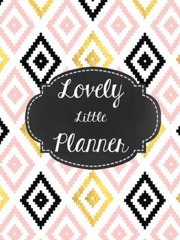 Teacher Planner: Lovely Little Planner Black & White Diamonds 2016-2017
