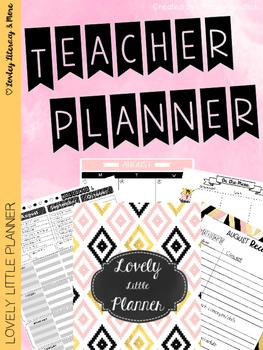 Teacher Planner: Lovely Little Planner Black & White Diamo