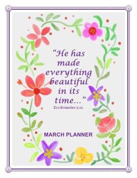 "Bible Verse ""March"" Planner - Print & Plan!"