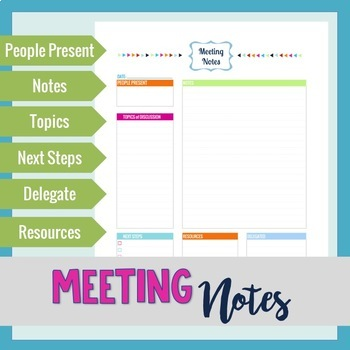 Teacher Planner - Meeting Notes