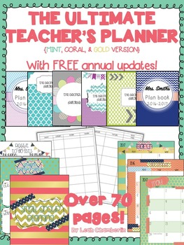Teacher Planner {Mint, Coral, Gold}