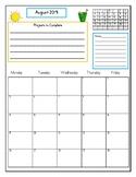 Teacher Planner/ Calendar Month at a Glance