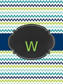 Teacher Planner: Navy, blue, lime green