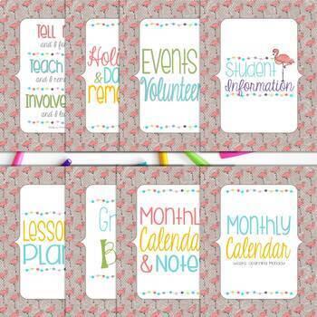 Ultimate Teacher Planner & Organizer Binder - EDITABLE {Flamingo}