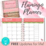 EDITABLE Teacher Planner & Organizer: Build Your Own Binder - Flamingo