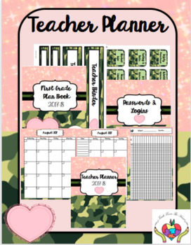 Teacher Planner 2017-2018 PINK AND ARMY FATIGUE