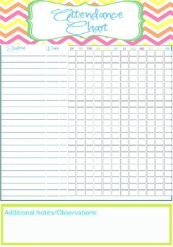 photo relating to Attendance Printable titled Trainer Attendance Chart Printable - Immediate EDITABLE