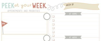Teacher Planner - Peek at the Week Page