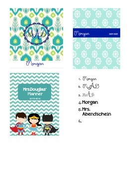Teacher Planner Personalized Cover