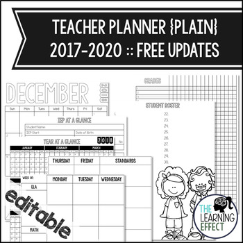 EDITABLE Teacher Planner Binder - Simple Plain | FREE Updates