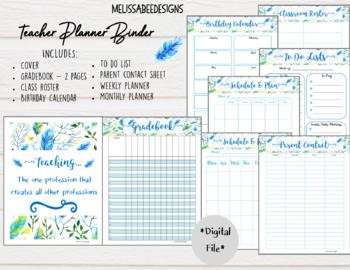 teacher planner printable pack in pretty blue floral design tpt