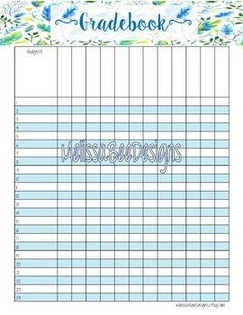 Teacher Planner Printable Pack in Pretty Blue Floral Design