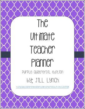 Teacher Planner - Purple Quatrefoil Edition