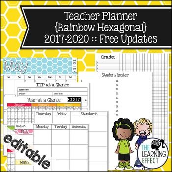 EDITABLE Teacher Binder & Planner - Rainbow Hexagonal   FREE Updates