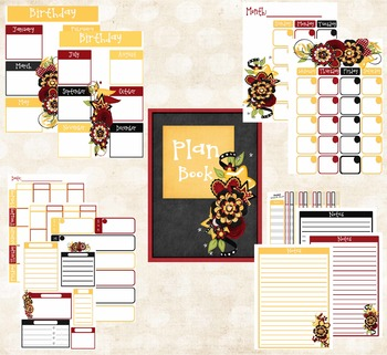 Teacher Planner Red, Yellow and Black Theme