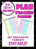 Teacher Planner Schedule