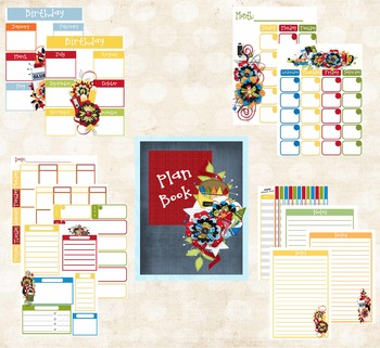 Teacher Planner School Tools Theme (Red, Yellow, Blue and Green)