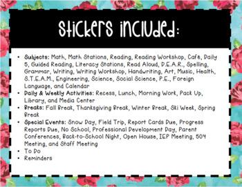 Watercolor Teacher Planner Stickers