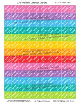 Teacher Planner Stickers Printable corner, triangle - any planner rainbow (T006)