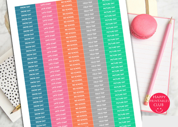 Teacher Planner Stickers-Snow Day Stickers-Late Day Stickers-No School Stickers