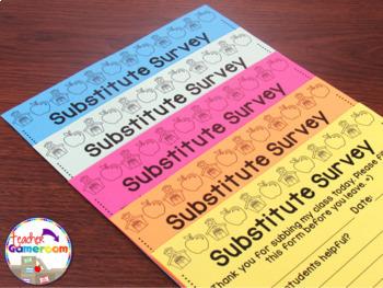 Teacher Planner - Substitute Survey Form