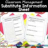 Teacher Planner - Substitute Information
