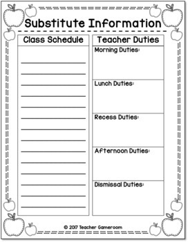 Teacher Planner - Substitute Information