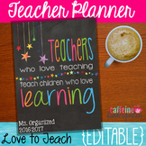 Editable Teacher Planner 2018 - 2019
