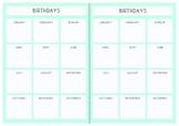 Teacher Planner Template: Birthday Calendars