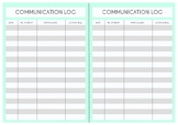Teacher Planner Template: Communication Log