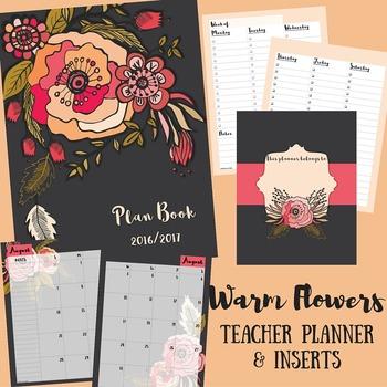 Teacher Binder / Planner: Warm Flowers
