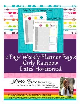 Teacher Planner- Planning Template Rainbow
