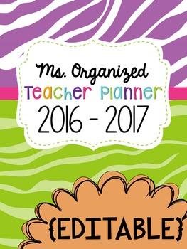 Teacher Planner Jungle Theme 2017-2018