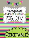 Teacher Planner Editable 2017 - 2018 binder
