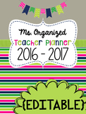 Teacher Planner Editable 2017 - 2018 binder