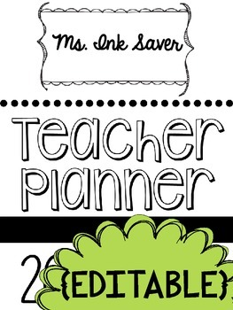 Save My Ink Teacher Planner - Black and White